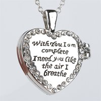 """Wholesale Love Gift Two Lovers - 2016 Lovers Gift bling Two Sides LetterS"""" With you I am complete I need you like the air I breathe """"heart locket pendants necklaceZJ-0903561"""