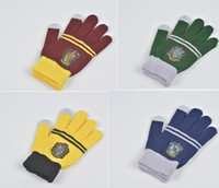 Wholesale Finger Knitting - Magic School Harry Potter Gryffindor Touch Screen Gloves Slytherin Badge Five Fingers Warm Winter Knitted Gloves Christmas Cosplay Gifts