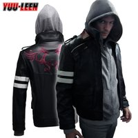 Wholesale Prototype Costume - Prototype Alex Mercer Jacket+Hoodie Embroidered PU Leather Coat Cosplay Costume
