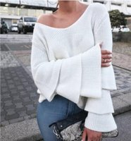 2017 nouvelles femmes pulls tricotés pulls mode sexy deep v long flare manches poncho pull ladies knitted jumper tops