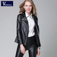 Wholesale Winter Elegant Coat Short - New Elegant Autumn Winter Leather Jacket Women's Short Black RED PU Leather Coat Ladies Slim Motorcycle Jaqueta Couro