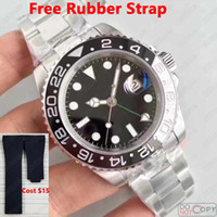 Wholesale Gmt Gold - 2018 New Black luxury brand GMT Ceramic Bezel Mens Mechanical Stainless Steel Automatic Movement Watch Sports Self-wind Watches Wristwatch