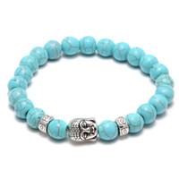 pulsera hombre plata turquesa al por mayor-Natural Lava Stone Turquoise Prayer Beads Charms Pulseras Antifatiga Silver Buddha Volcanic Rock Hombres Difusor de la Mujer Joyería