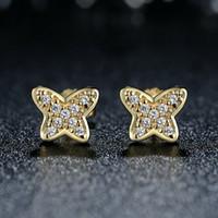 Wholesale Sterling Silver Butterfly Earrings Backs - Genuine 925 Sterling Silver Petite Butterfly Stud Earrings with Clear CZ 14K Gold Push-back Party Earrings ER054