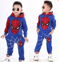 Wholesale Trousers Spider Man - New Boys Spider-man Long Sleeve T- Shirts Hooded + Pants Suits Children Kids Cotton Hoodie Shirts Clothes Trousers Clothing Sets Outfits