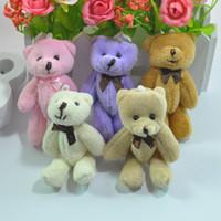 "Wholesale Wholesale Teddy Bear Gift Bags - 8cm(3.1"") x12pcs Cartoon Plush Mini Teddy bear Joint Bow Tactic Bear Stuffed Pendants Dolls For Key chain Bouquet phone Bag Gift"