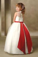 Wholesale Gorgeous 2016 Flower Girls Dresses Lovely Tulle Bateau Neck Buttons Voltar Red Belt Applique Cute Little Kids Dresses