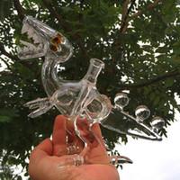 tubos de pulido al por mayor-Tuberías de agua de vidrio Trex Dino plataformas de aceite de dinosaurio plataformas de dab bong de vidrio pulido conjunta 14.5mm