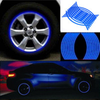 Wholesale Color Vinyl Tape - 2016 18 Strips Car Styling Motorcycle Automobiles Wheel Tire Sticker On Car Rim Tape Car Sticker Parking Accessories