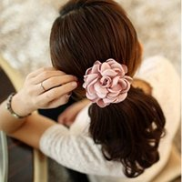 Wholesale Elastic Flower Ponytail Holder - Hot Hair Ornaments Rope For Elastic Ponytail Holder Scrunchie Rose Flowers Hair Bands Women Girls Hairbands Headwear 8 Colors