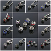 Wholesale Bead Silver Plated Clear Crystal Heart Charms Beads Fit Bracelet Necklace Pendant Original Jewelry Accessories Beads