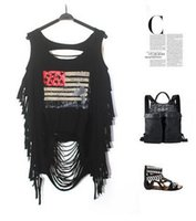 Wholesale Tank Dresses Punk - 2016 Stamp hole street punk dress personality Sexy Halter fringed vest Wholesale and retail Free shipping
