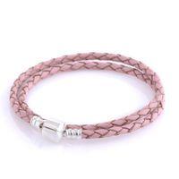 rosa lederhalsketten großhandel-Rosa Lederarmband aus 925er Sterlingsilber passt zu Pandora-Style-Armbändern jeder Halskette im europäischen Stil