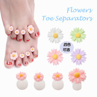 Wholesale Flower Polish - Wholesale Mixed 4 Colors FLOWER SILICONE TOE SEPARATORS Nail Care Pedicure Tools Salon Polish Treatment Foot DIY