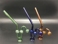 dicke mundgeblasene glasrohre großhandel-Glasöl-Brenner der Schlangengurtbasis 2pcs große starke mundgeblasene Glastabak Wasserpfeife Krautglasrohre geben Verschiffen frei