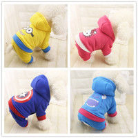 Warme, Nette Kostüme Kaufen -Neueste Cartoon Cute Minions Captain America Design Pet Cosplay Kostüm Puppy Hoodie Kleidung für Hunde und Katzen Herbst Winter Warm Mantel