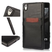 Wholesale Xperia Protective Cover - Xperia Z5 Premiu Phone Cover PU Leather Bag Flip Cover with Card for iphone 6 6s plus Slot Kickstand Huawei P8 Protective Shell OPP Bag
