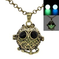 Wholesale Lockets Fragrance - Antique Bronze Hollow Animal Owl Locket Wish Box Necklace for Perfume Aromatherapy Essential Oil Perfume Fragrance Diffuser