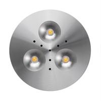 led down light 3w 12v al por mayor-12V DC 3W Proyector LED Iluminación debajo del gabinete Luces de puck Joyería Escaparate de luz LED Gabinete Luz Luz de mostrador de cocina Abajo Iluminación