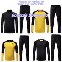 Wholesale Football Collar - top quality 17 18 High collar jacket black Training suit kits soccer tracksuit 2017 2018 AUBAMEYANG GOTZE REUS SAHIN football training suit