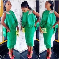 estilo de renda azul de áfrica venda por atacado-Verde esmeralda áfrica vestidos de baile 2017 sem mangas lace bainha vestidos de noite estilo do cabo vestidos de festa árabe chá comprimento formal wear
