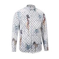 Wholesale Male Dress Design - 2018 brand design of male long sleeve dress shirts letter print slim fit men casual shirts cotton Medusa shirt Social