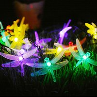Wholesale Solar Dragonfly Lights - LED Dragonfly Solar Powered Light Halloween Christmas Decorations 20 Lights Home Outdoor Garden Patio Party Holiday Supplies OOA3154