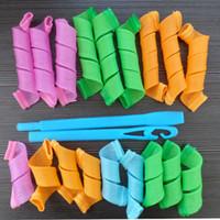 Wholesale Diy Magic Curler Roller - Plastic Hair Rollers 18pcs Rollers 2pcs Hooks DIY MAGIC LEVERAG Magic Hair Curler Roller Magic Circle Hair Styling Rollers Curlers in stock