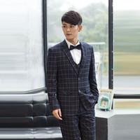 Wholesale Trajes Hombre Fashion - Wholesale-Size S-3XL Two Button Fashion England British Plaid Men Black Business Formal Tuxedo Suits Wedding Groom Suit Trajes De Hombres