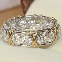 Wholesale Silver Stone Ring Tibet - Brand Jewlery Women's 925 Silver Simulated Diamond CZ Stone Yellow Gold Cross Eternal Band Wedding Ring
