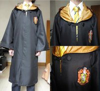 Wholesale House Robes - Harry Potter Cosplay Hogwarts Robe Cloak Which a Tie Gryffindor Slytherin Hufflepuff Ravenclaw 4 House 4 Size Can Chose