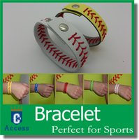 Wholesale Discounts Bracelet - Discount cheapest real leather yellow softball seam bracelets and white baseball seam bracelet with free shipping