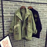 Wholesale Slim Large Lapel Coat - Female students in the spring and autumn coat Korean green long sleeved loose large size thin section BF 2016 new wind jacket