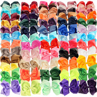 "Wholesale Claw Clips For Hair - 61 Pcs lot 6"" Hair Bow Fashion Handmade Solid Grosgrain Ribbon Hair Clip for Kids Girls Toddler Boutique Hair Accessories"