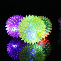 Wholesale Toy Knives For Kids - Dog Puppy Cat Pet LED Flashing Night Light Squeaky Rubber Chewing Bell Ball Hedgehog Fun Toys For Kids ZA4943