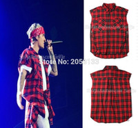 тартановые платья оптовых-Оптовая продажа-kanye west хип-хоп мужские рубашки платья тартан марка одежды Джастин Бибер одежда с коротким рукавом красный плед страх Божий мужчины рубашка