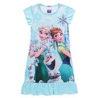 Wholesale Dress Chidren - 2016 new summer girl dresses frozen chidren girl beach dress sleep dress polyester cotton short sleeves dress nine style 08