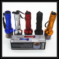 Wholesale Machine Torch - Colorful Aluminum Torch Shape Electric Herbal Grinder Spice Crusher Herbal Handle Machines Metal Smoking Pipe Single Box Packing DHL Free
