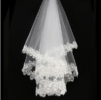 Wholesale Soft White Wedding Veils - Lace Appliques Bridal Veils 2016 Beaded Soft Tulle Wedding Veils One Layer New Bridal Accessories Size 150 cm