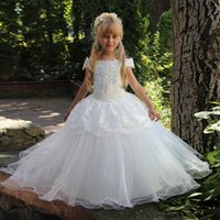 Wholesale Girl Dreses - 2018 Crystal Lace Ruffles Bateau Ball Gown Tulle Floor Length Flower Girl Dreses