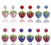 Haute qualité 925 Sterling Silver Strawberry Double face Shambala Ball Stud Earrings Fashion Jewelry Diamond Crystal Disco Beads Earings