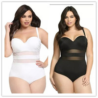 Wholesale White Mesh Bathing Suit - 2016 Newest Black And White One-Piece Swimwear High Waist Sexy Mesh Bikini Vintage Bathing Suit Swimsuit Plus Size Womens Clothing 4XL SW398