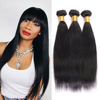 Wholesale Human Hair Weave Bulk - Brazilian Kinky Straight Human Hair 3Pcs Lot 100% Unprocessed Virgin Hair Straight Weave Bulk Natural Human Hair Bundles for Wholesale