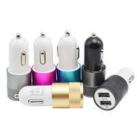 Wholesale Charger Mobile Phone Galaxy S4 - Aluminum Material Dual USB Car Charger 5V 2.1A & 5V 1A Rapid Charge For iPhone iPad Samsung Galaxy S4 S5 Note Mobile Phone Tablet etc