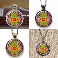 Wholesale Fortune Necklace - 10pcs Hamsa Hand Protection Pendant Good Fortune Pendant Necklace keyring bookmark cufflink earring bracelet
