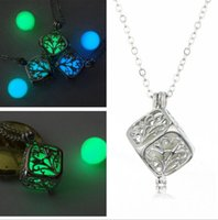 Wholesale Led Christmas Lights Necklace - Christmas Luminous beads hollow square leaves life light bead pendant necklace love the magic box LED girlfriend mother intimate gift