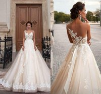 Wholesale Custom Applique For Ball Cap - Stunning 2016 Milla Nova Sheer Castle Wedding Dresses Ball Illusion Back Appliques Lace Chapel Train Cheap Bridal Gown For Western Style