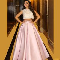 ingrosso pezzi di abito da sera-2016 Alla Moda Due Pezzi Libano Cantante Celebrity Prom Dresses Pizzo Rosa Ball Gown Abiti Da Vestibilità De Formatural Longo Custom Made