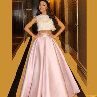 rosa zwei stücke kleid spitze großhandel-2016 modische Zwei Stücke Libanon Sänger Promi Prom Kleider Spitze Rosa Ballkleid Kleider Vestidos De Formatural Longo Nach Maß