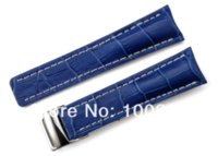 Wholesale Breitling Crocodile - Handmade 22mm 24mm Crocodile Grain Genuine Italy Leather Blue Watch Strap with Clasp Buckle for Breitling Watch Band